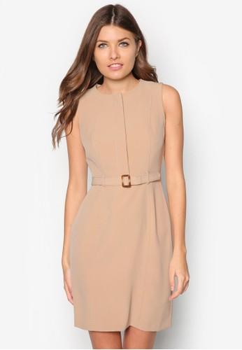 腰帶直筒無袖連身zalora 評價裙, 服飾, 正式洋裝