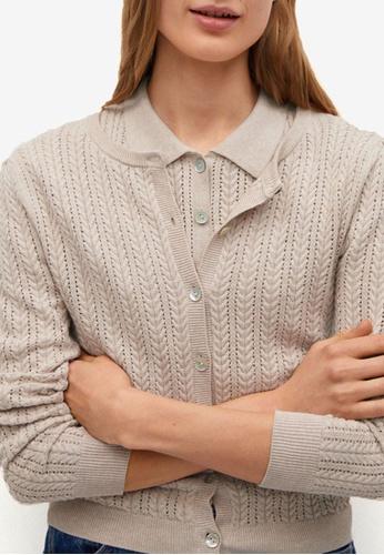 Mango grey Openwork Knit Cotton Cardigan D685AAA2F8157AGS_1
