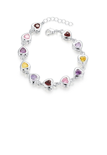 Glamorousky multi Sweet Heart Bracelet with Colorful Cubic Zircon 016F6AC8890BE0GS_1