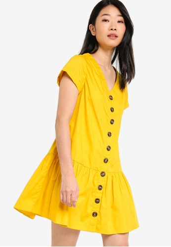 Something Borrowed yellow Button Down Ruffles Hem Babydoll Dress 108E8AA93EC84CGS_1