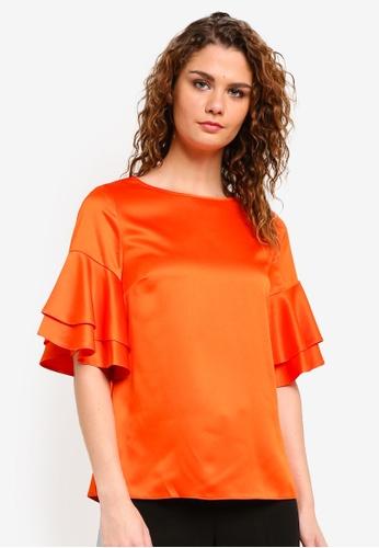 Dorothy Perkins orange Orange Double Ruffle Tee DO816AA0RMYHMY_1