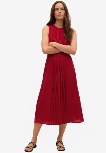 Mango red Pleated Detail Dress 959DEAA9CBC4A9GS_1