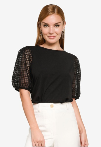 Forever New black Ruby Embroidered Organza Sleeves Top 632BBAABEC05BCGS_1
