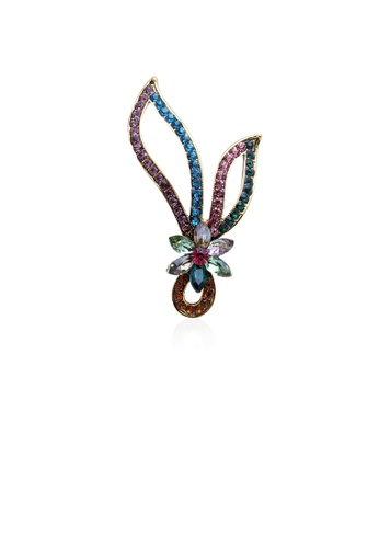 Glamorousky silver Simple and Fashion Plated Gold Geometric Flower Brooch with Cubic Zirconia 53ACCAC7F79D5BGS_1