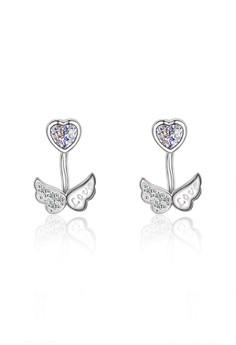 【ZALORA】 J170893 S925 銀飾天使的翅膀白色鋯石耳釘-銀色