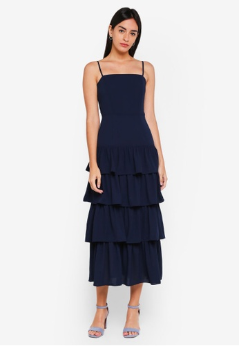 MDSCollections navy Dionne Layered Dress In Midnight 05522AA36A3DF9GS_1