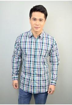 Blue Aqua Black Long Sleeve Gingham Print Cotton Button-Down Shirt