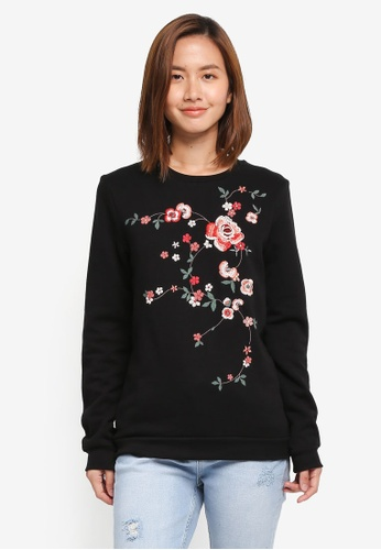 Dorothy Perkins black Embroidered Sweat Top 4286AAAC8C6876GS_1