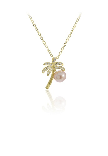 Glamorousky purple 925 Sterling Silver Plated Gold Fashion Creative Coconut Tree Purple Freshwater Pearl Pendant with Cubic Zirconia and Necklace 2069BAC92EF0C6GS_1