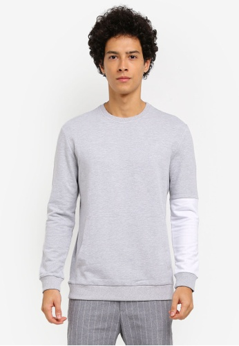 ZALORA grey CONTRAST SLEEVE POCKET SWEATSHIRT EF446AAC02ED03GS_1
