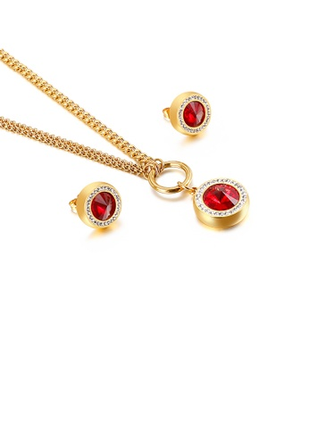Glamorousky red Fashion Simple Plated Gold Geometric Round Red Cubic Zirconia 316L Stainless Steel Necklace and Stud Earrings Set FC06FAC652B312GS_1