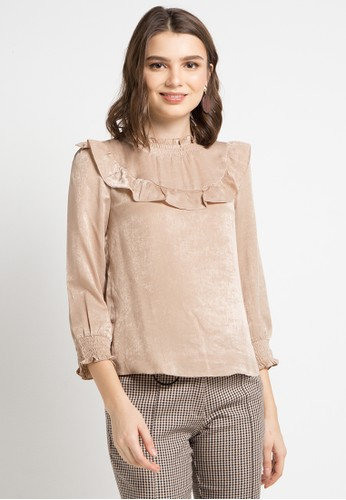 ELLE brown Ruffled Front With Smok Wirst Blouse 8ED02AA3490B91GS_1
