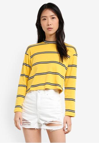 TOPSHOP yellow Striped Long Sleeve Crew Neck Top 520C5AA26AC37FGS_1