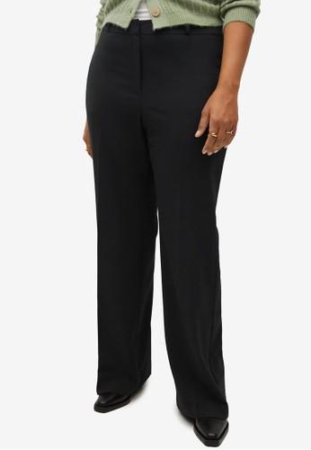 Violeta by MANGO black Plus Size High-Waist Straight Trousers B12EBAAB9C4DE6GS_1