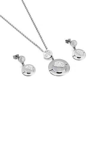 Glamorousky 白色 簡約時尚幾何圓形鋯石316L鋼項鏈和耳環套裝 D87E3ACE4ABC2EGS_1