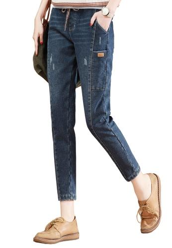 A-IN GIRLS blue Elastic Waist Frayed Jeans 30CA8AA7928E00GS_1
