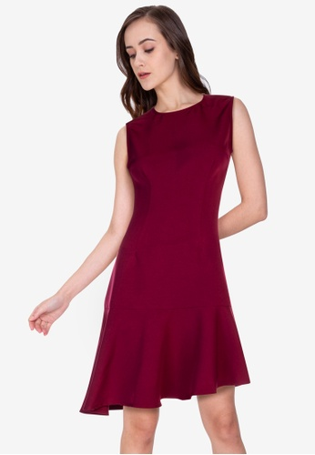 ZALORA WORK red Asymmetric Hem Mini Dress 7AF51AAFAE167EGS_1