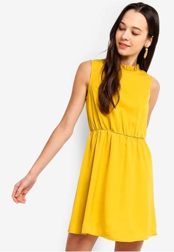 Something Borrowed 黃色 Ruffled Trim High Neck Dress 22653AAADE4A92GS_1