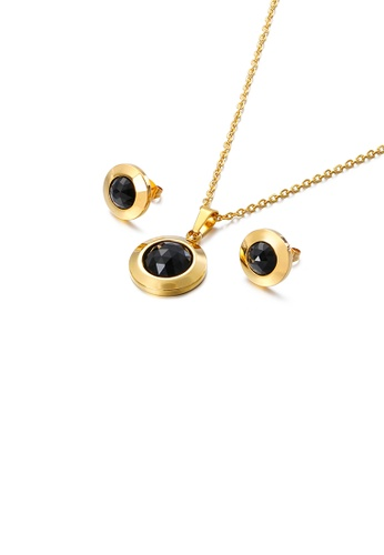 Glamorousky black Simple Temperament Plated Gold Geometric Round 316L Stainless Steel Necklace and Stud Earrings Set with Black Cubic Zirconia 5F0E3AC56964A0GS_1