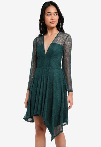 TOPSHOP green Petite Lace Hem Skater Dress C23ADAA0418AF0GS_1
