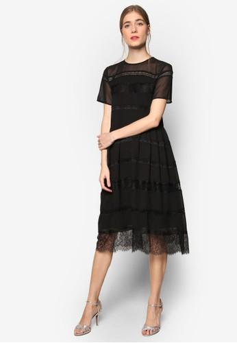 ZALORA black Premium Lace Insert Premium Fit & Flare Dress 45F80AAA8A85FFGS_1