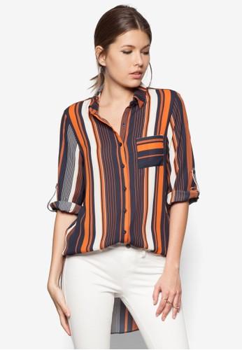 撞色條zalora時尚購物網的koumi koumi紋長版襯衫, 服飾, 服飾