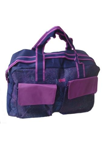 LULUGIFT purple Imported Canvas Romantic Baby Breath Bouque Purple Travel Bag LU989AC15UIUMY_1