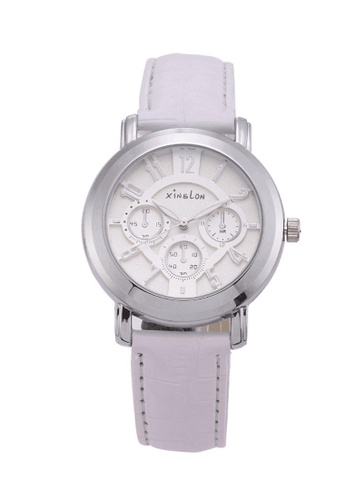 Stylebox white Xinslon Leather Watch with Sub-dial Design D2102AC21BFB41GS_1