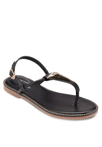 三角水晶T 字帶涼鞋, 女zalora 順豐鞋, 鞋