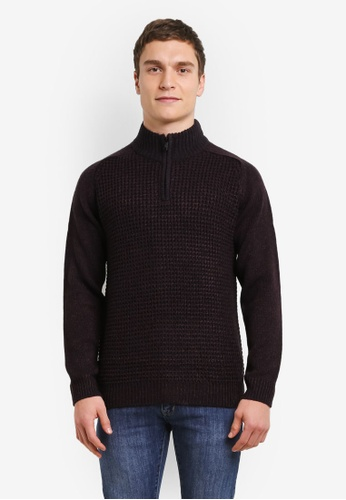 Burton Menswear London 紅色 勃根地酒紅拉鍊套頭針織毛線衣 BU964AA0SD2AMY_1