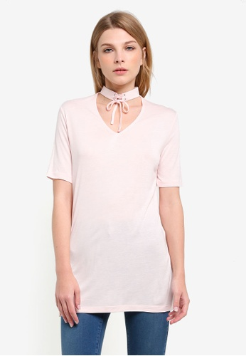 Miss Selfridge pink Pink Lace Up Choker Tee MI665AA0RSTPMY_1