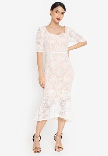ZALORA OCCASION white Sweetheart Neck Mermaid Dress 6E4ACAA6CB72FFGS_1