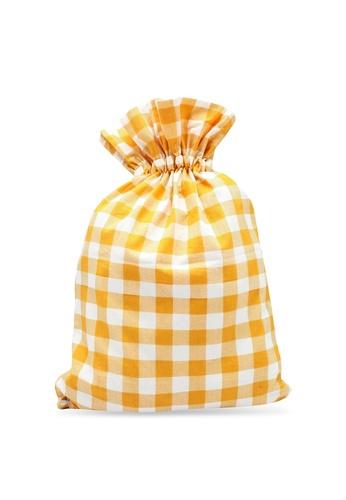 Compania Fantastica yellow Check Backpack C2AB3AC3FB441CGS_1