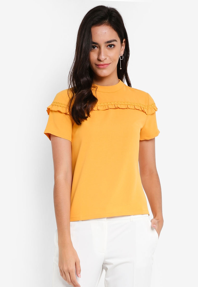 ZALORA Ruffle Back Tie Yellow Top 8Cz1Swq8