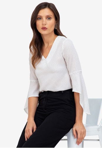 ZALORA WORK multi V Neck Fluted Sleeves Top 032BBAADE28E65GS_1