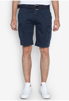 ff9c7a7de2 BNY blue Printed Cargo Shorts With Belt A150FAA212E7C3GS_1