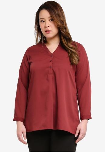 Ex'otico red Plus Size Long Sleeve Mandarin Collar Blouse C3DDEAAC8EB539GS_1