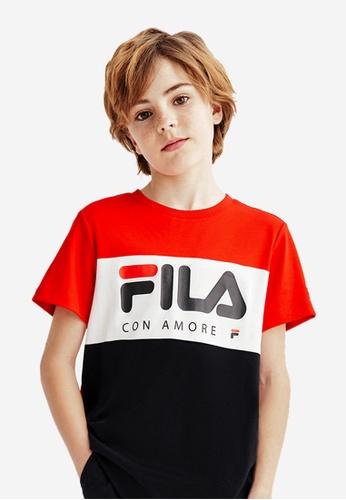 FILA red FILA KIDS FILA Logo Colour Blocks Cotton T-shirt 8-15yrs 5D326KA3C7E5BEGS_1