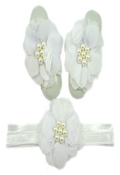 Baby Headband and Barefoot Sandals (Chiffon Flower) White Set 0+mons