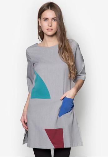 撞色拼接直筒連身裙, esprit outlet 旺角服飾, 洋裝