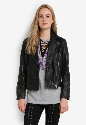 TOPSHOP black Washed Leather Biker Jacket TO412AA54JWRMY_1