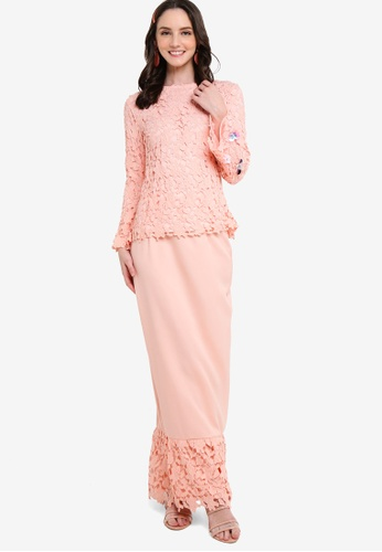 Lubna pink Lace Wide Sleeves Kurung A17B2AAAA92197GS_1