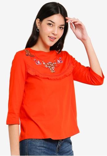 ESPRIT 紅色 刺繡短袖上衣 91F22AA2C36149GS_1