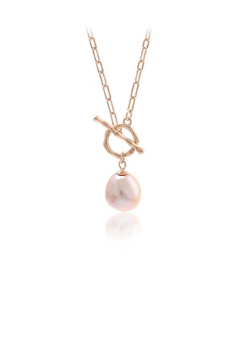 Glamorousky pink 925 Sterling Silver Plated Rose Gold Fashion and Elegant Geometric Circle Freshwater Pearl Pendant with Necklace E716FACF6B4B26GS_1
