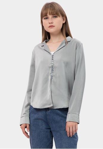 MKY Clothing 綠色 MKY Many Button Sateen Shirt E8A67AA0CBA100GS_1