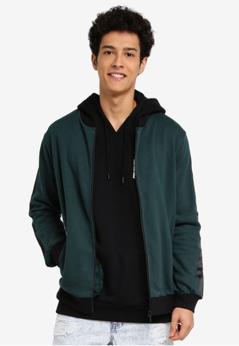 Cotton On black and green Bomber Fleece Jacket ACDCCAA7B55AF0GS_1