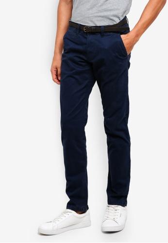 ESPRIT 海軍藍色 腰帶直筒褲 7F5FAAA9856F8BGS_1