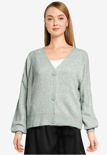 Vero Moda green Lefile Long Sleeves  V-neck Cardigan 1C4FCAA7A38FF9GS_1
