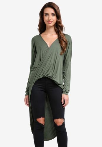 MISSGUIDED green Drape Twist Front Long Sleeve Tunic 4F33BAAE0A2112GS_1