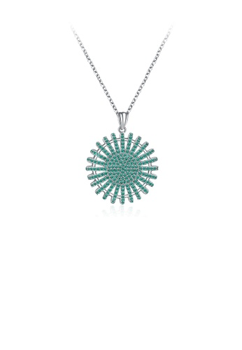 Glamorousky green 925 Sterling Silver Sparkling Elegant Fashion Sun Flower Pendant Necklace with Green Cubic Zircon 0471BACB69A216GS_1